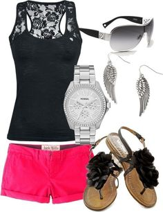 Sunglasses with black lace tank and neon pink shorts