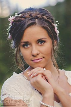 Braid crown and fresh flowers. wedding hair!
