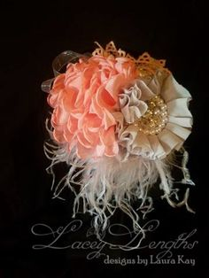 Coral and Gray headband by LaceyLengths on Etsy