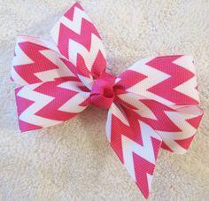4 Chevron Print Pinwheel Boutique Bow  Shocking Pink by BabyABows, $4.25