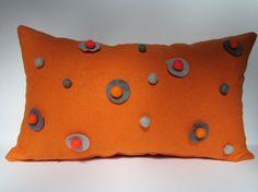 Items similar to Handmade tuliManna Orange Linen Pillow Case with Light Dark Gray Orange Satsuma Felt Balls and Discs Inch Home Decor on Etsy Linen Pillows, Decorative Pillows, Bed Pillows, Cushions, Felt Ball, Fabric Bags, Designer Pillow, Handmade Design, Light In The Dark