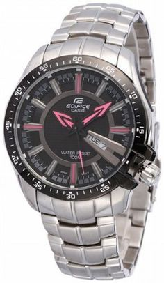 Men's Stainless Steel Edifice Black Dial Quartz Casio. $59.28. 100 Meters / 330 Feet / 10 ATM Water Resistant. Mineral Crystal. 57mm Case Diameter. Quartz Movement. Edifice Collection. Save 34%!