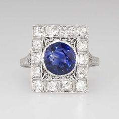 Breathtaking 3.80ct t.w. Edwardian Sapphire & Old European Cut Diamond Filigree Platinum Ring by YourJewelryFinder on Etsy https://www.etsy.com/listing/217495596/breathtaking-380ct-tw-edwardian-sapphire