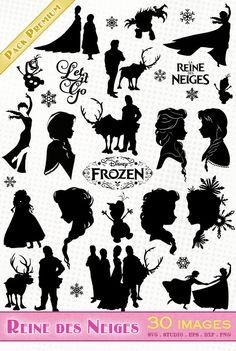 Reine des Neiges/Frozen/Elsa & Anna - Fichiers SVG, EPS, DXF et Silhouette Studio
