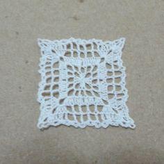 Miniature crochet square doily in white 1 inch 1:12 dollhouse