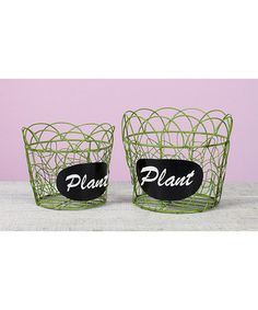Look what I found on #zulily! Green 'Plant' Wire Round Planter - Set of Two #zulilyfinds