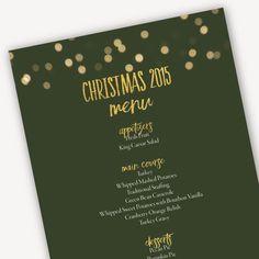 Editable Christmas Menu Template - Green Christmas Printable - Instant Download - Green and Gold Christmas Menu - Menu Template for Word