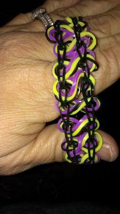 Taffy twists rainbow loom. Not to hard. Tutorial on youvtube was easy.