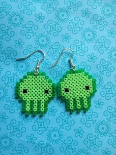 Mini Hama Bead 8 Bit PIxel Chibi Cthulhu Earrings Cute Kawaii Geek