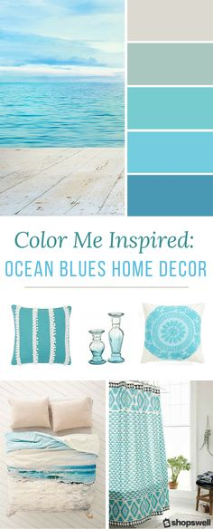 Blue ocean tones are the inspiration behind this summer home decor collection. Blue ocean tones are the inspiration behind this summer home decor collection. Decorate your beach house or simply give your living space a warm-weather makeover. Blue Home Decor, Retro Home Decor, Beach House Decor, Ocean Home Decor, Beach Condo, Beach House Colors, Beach Themed Decor, Beach Themed Rooms, Summer House Decor