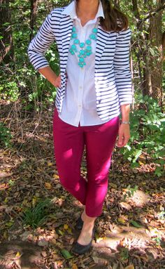 work outfit :: striped blazer, bubble necklace, white button up, burgundy ankle pants, black flats
