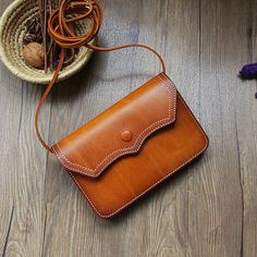 Vintage top grain leather bag women leather clutch door OrisDesigns