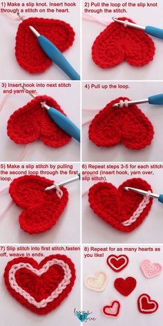 Easy Crochet Hearts Loops & Love Crochet - örgü motifler These crochet hearts work up quickly and are fun to make! They are perfect for your Valentine's Day decorations or make great appliques to add to your crochet projects. Crochet Flower Patterns, Crochet Motif, Crochet Flowers, Crochet Stitches, Crochet Hooks, Knitting Patterns, Crochet Hearts, Crochet Appliques, Crochet Squares