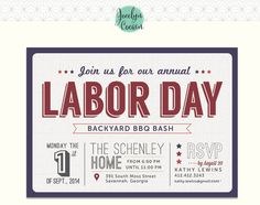 Red White And Blue Labor Day Invite By Purpletrail Com Party