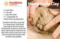 Easy recipe for homemade clay. Sculpting with clay is a great fine motor activity!