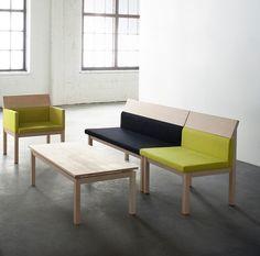 JRA Group Furniture Series designed by Jenni Roininen Contemporary Furniture, Cool Furniture, Furniture Design, Lounge Chair, Scandinavian Modern, Dining Bench, Architecture Design, Living Room, Designer Armchairs