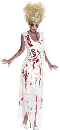 Kostüm Jahrgangs-Königin Zombies Halloween für Damen: Dieses  Kostüm Jahrgangs-Königin Zombies besteht aus einem weißen Kleid mit Blutflecken. Das Unterteil des Kleids ist zerfetzt. Angenähter Schal.