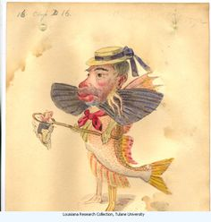 "Flying Fish-Charles Briton 1873. Costume design from Mistick Krewe of Comus' 1873 ""Missing Links"" parade.  Watercolor on paper."
