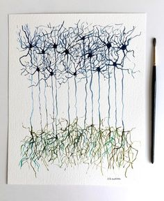 Neuron, Neurons, science, science art, watercolor, watercolors paintings…