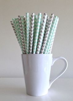 Paper Straws - 25 Mint Green and Light Gray and White Chevron Party Straws Birthday Wedding Baby Shower Bridal Shower Graduation, $3.60