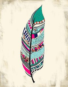 Tribal Feather Art Print 11 x 14 by agirlandherbrush on Etsy, $30.00