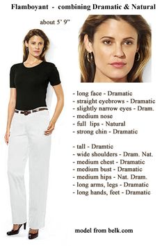"Flamboyant Dramatic (TA) example combining Dramatic and Natural. ~""20 Types of Beauty"" by Dwyn Larson. Kibbe's Flamboyant Natural, clear ISTJ psychotype. (Sharon Stone)"
