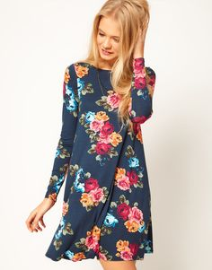 ASOS+Swing+Dress+In+Floral+Print
