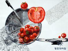 기초디자인 건국대 기디 입시미술 기초디자인 개체묘사 일러스트 디자인 토마토 냄비 냄비뚜껑 에어캡 뾱뾱이