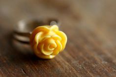 Yellow Rose Adjustable Ring