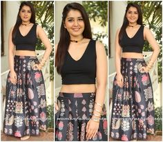 Raashi Khanna in Printed motif long skirt and crop top