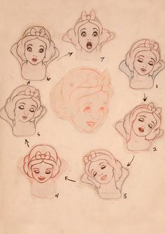 Snow White model sheet. The Art of Marc Davis* (one of the Disney's Nine Old Men) ★ || Art of Walt Disney Animation Studios © - Website | (www.disneyanimation.com) • Please support the artists and studios featured here by buying their artworks in the official online stores (www.disneystore.com) • Find more artists at www.facebook.com/CharacterDesignReferences and www.pinterest.com/characterdesigh || ★ Walt Disney, Art Drawing, Disney Animal, Snowwhite, Art Inspiration, Art Sketches, Snow Dark, White Sketches, Snow White