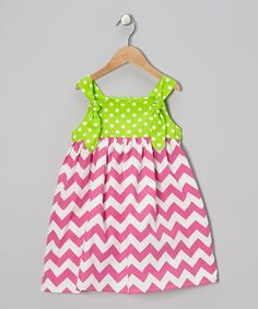 Take a look at this Pink & Lime Chevron Polka Dot Dress - Toddler & Girls by Helene's Closet on #zulily today!
