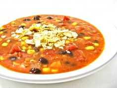 """Skinny Tortilla Soup, Vegetarian-Style. Here's a really hearty and healthy new soup for """"Meatless Mondays"""" or anytime. The broth is so rich and flavorful. It's packed with 6 grams of fiber per cup, 139 calories, 3 grams of fat and 4 Weight Watchers POINTS PLUS. http://www.skinnykitchen.com/recipes/skinny-tortilla-soup-vegetarian-style/"""
