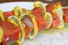 Salmon Kabob's -  Great Recipe - the lemon flavor would be is in!