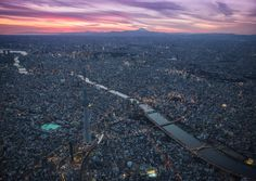 Tokyo Sunset aerial view