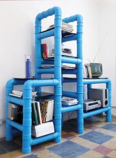 Furniture made from PVC pipes.