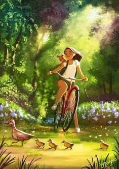 Simple summer happiness in an illustration by Yaoyao Ma Van As Art Et Illustration, Illustrations, Posca Art, Anime Art Girl, Aesthetic Art, Cartoon Art, Cute Drawings, Cute Art, Amazing Art