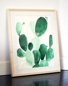 'Green Paddle Cactus II' Framed Original Watercolor Painting