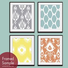Ikat Patterns (Series A) -Set of 4 - 8x10 Prints - Featured in Dolphin, Slate Blue, Canary and Tuscan Glow) by pixiepixels on etsy