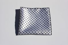 White and Black Satin Polka Dot Pocket Square with Black Trim #TheSquarExtraordinaire #Patterned