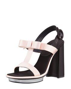 PRADA : Satin Bow T-Strap Sandal, Pink