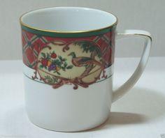 Noritake Royal Hunt Coffee Mug Pheasants Rabbit Fruit Red Green Gold Trim #3930 #Noritake