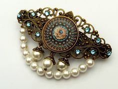Antique Barrette turquoise white bronze with shell pearls | Jewelry-treasure-chest - Accessories on ArtFire