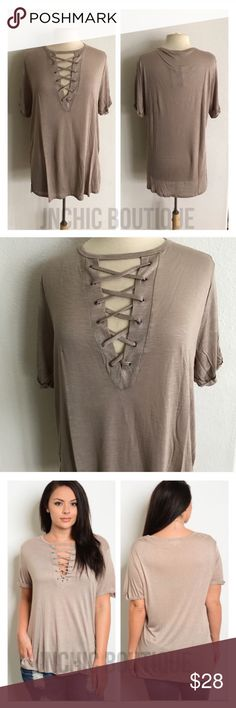 "(Plus) Mocha laced up tee Laced up look tshirt. 100% rayon. Lightweight, super soft, and stretchy! These are somewhat sheer. Side slits. Cuffed sleeves (sewn cuffed). For a less fitted/ more flowy look please order up one size.  1x: L 30"" B 42"" 2x: L 30"" B 44"" 3x: L 31"" B 46"" ⭐️This item is brand new with tags 💲Price is firm unless bundled ✅Bundle offers Availability: 1x•2x•3x • 2•2•2 Tops Tees - Short Sleeve"