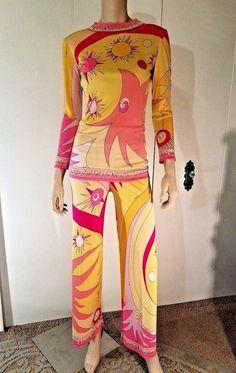Vtg 1970 - EMILIO PUCCI - Iconic Signature Print Couture - Stella Motif Palazzo | eBay