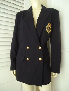 RALPH LAUREN Sz 10 Worsted Wool Blazer Coat Double Breasted Navy Gold button NWOT
