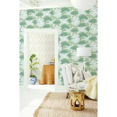 """York Wallcoverings Sprig and Heron 27' L x 27"""" W Wallpaper Roll 