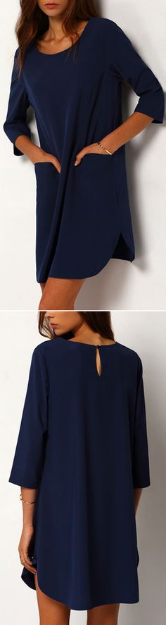 Versitale loose navy jersey shirt dress at romwe.com.There have more colors with more discount if signed up!