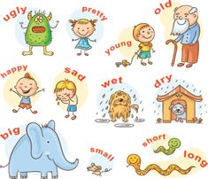 Illustration of Cartoon characters illustrating antonymous adjectives, can be used as a teaching aid for a foreign language learning vector art, clipart and stock vectors. Examples Of Adjectives, List Of Adjectives, English Conversation Learning, Learning English For Kids, Opposite Words For Kids, Describing Words, Adjective Worksheet, Class Activities, Banner Printing