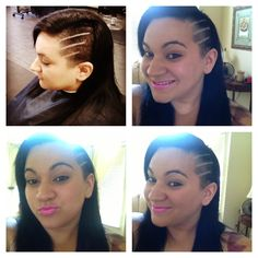 Shaved side head hair style with design  I love my hair.